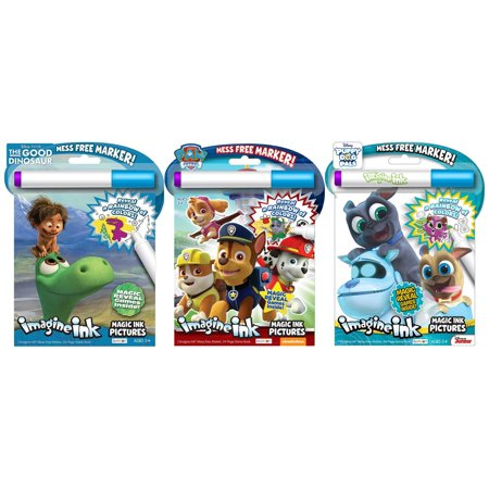 Bundle of 3 Imagine Ink Magic Pictures Activity Books – The Good Dinosaur,  Paw Patrol, and Puppy Dog Pals