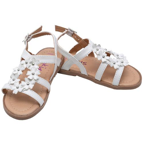 Little Girls White Floral Embellishment Buckle Open Toe Sandals 10 Toddler