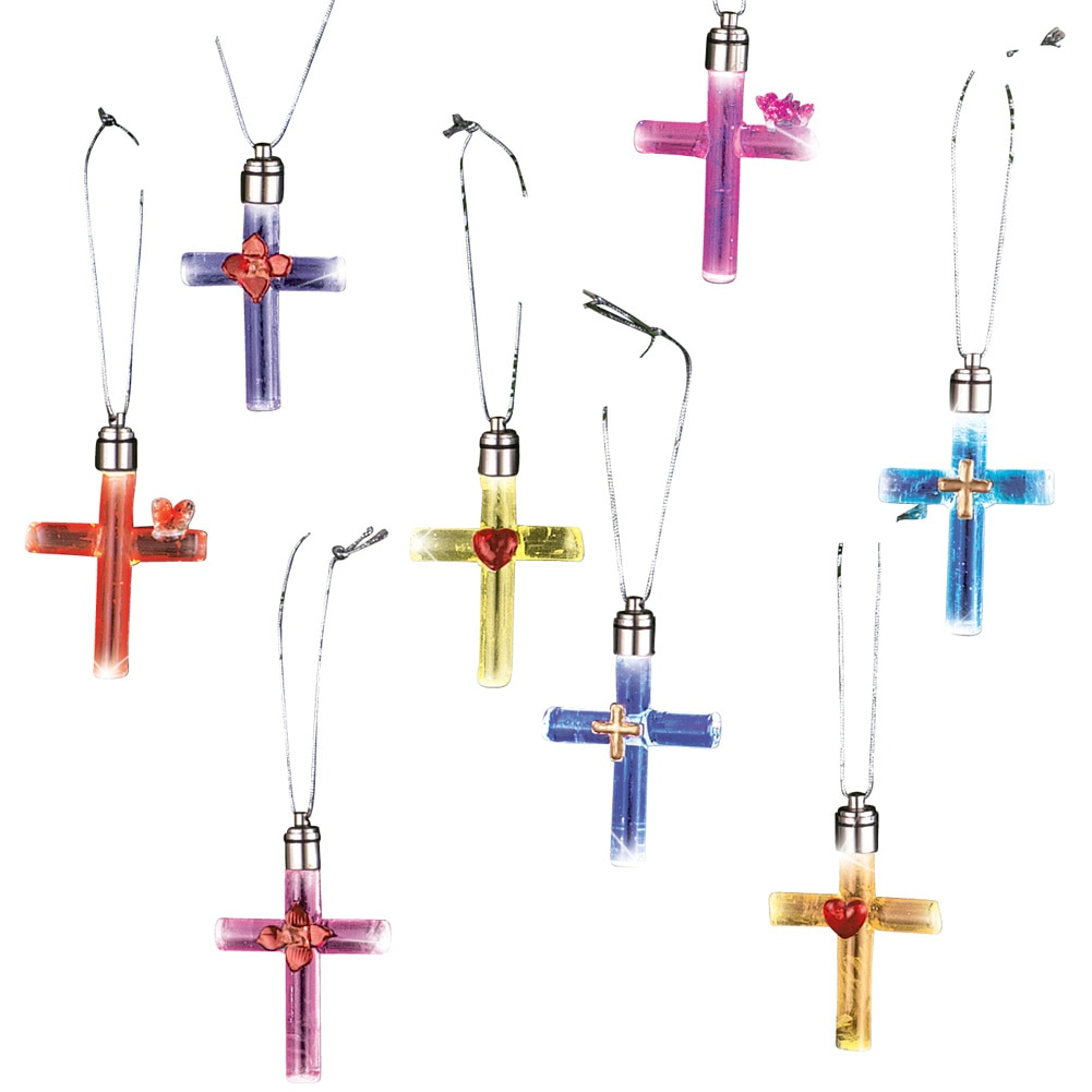 Lighted Glass Cross Christmas Ornaments - Color Changing ...