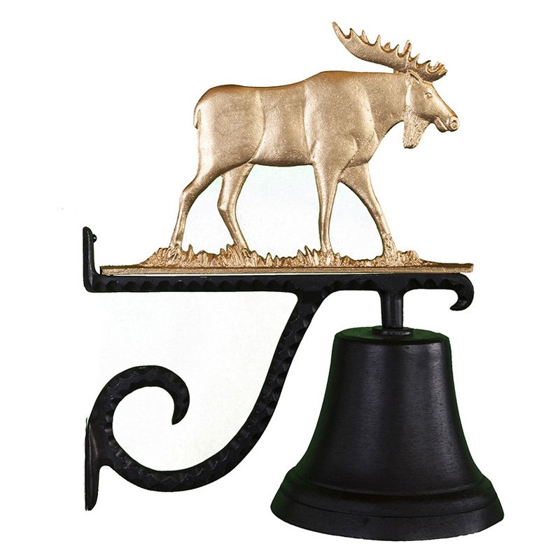 Cast Bell with Gold Moose Ornament