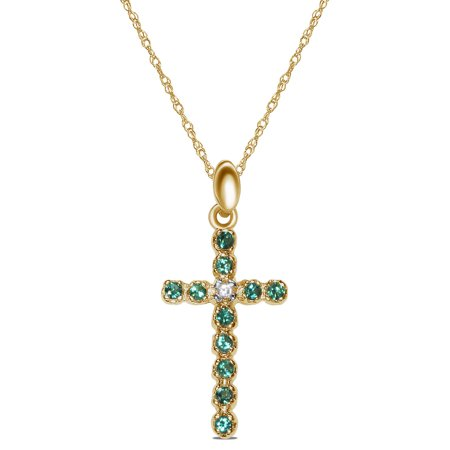 Created Emerald Cross - Womens.02CT with Created Emerald Cross Necklace Pendant in 10K Yellow Gold with