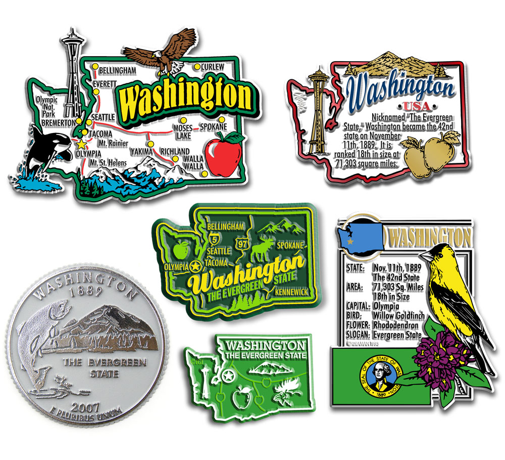 Six-Piece State Magnet Set - Washington