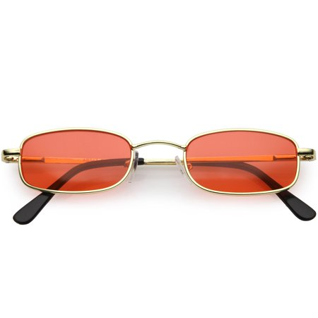 90's Small Rectangle Sunglasses Slim Arms Color Tinted Lens 45mm (Gold / (Sunglasses For Slim Face)