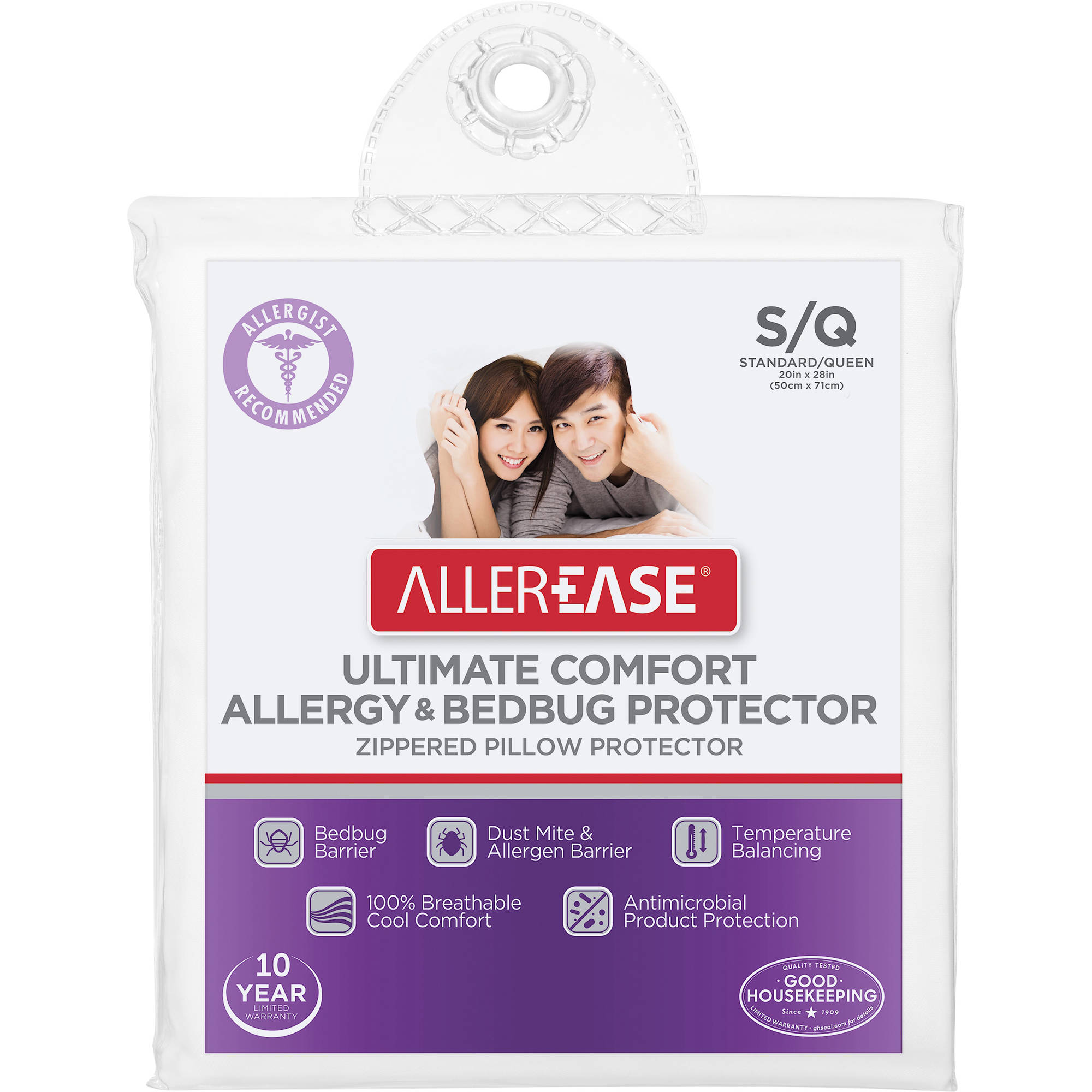 AllerEase Ultimate Comfort Allergy & Bedbug Zippered Pillow Protector, S/Q