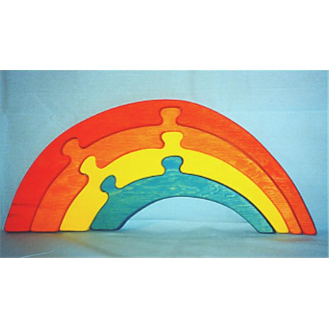 THE PUZZLE-MAN TOYS W-1212 Wooden Educational Jig Saw Puzzle - Small Rainbow