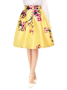 2d0fd6975db5 Product Image Women Floral High Waist Pleated A Line Midi Skirt Dress Gray  M (US 10)
