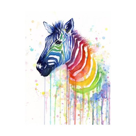 Rainbow Zebra Print Wall Art By Olga - Rainbow Zebra