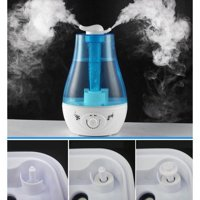 Topboutique 3-Liter Double Mist Nozzeles Mini Home Whisper Quiet Supersonic Wave Humidifier with LED Night Light (Blue)