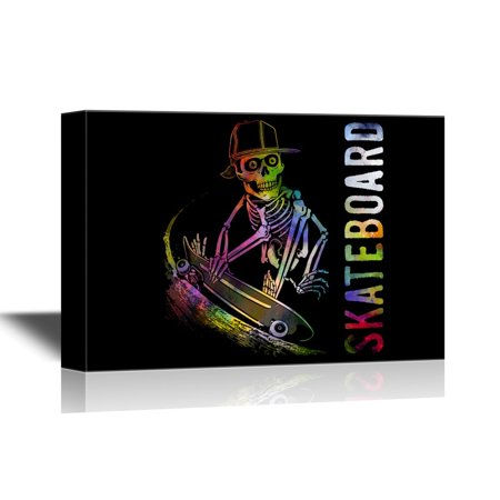 wall26 Skateboard Canvas Wall Art - Colorful Skeleton with Skateboard - Gallery Wrap Modern Home Decor | Ready to Hang - 32x48 inches