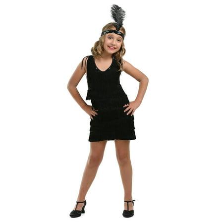 Flapper Dress Size 22 (Child Black Fringe Flapper)