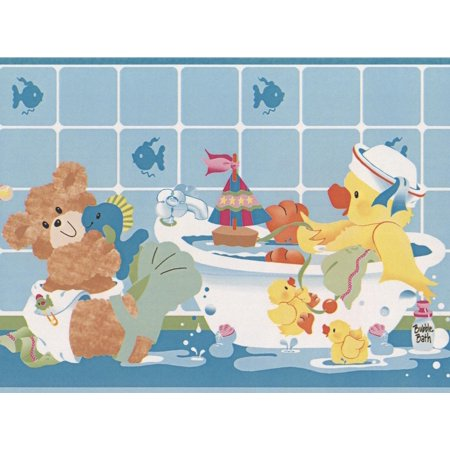 . Teddy Bears Plush Toys Taking Bath Blue Wallpaper Border for Kids