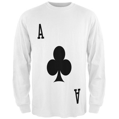 Halloween Ace of Clubs Card Soldier Costume All Over Mens Long Sleeve T Shirt](Vegas Halloween Clubs)