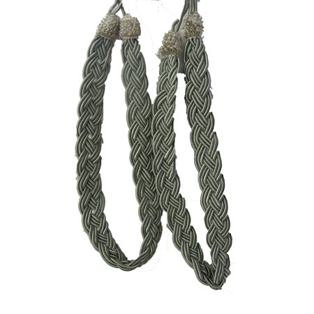- Pair of Metallic Sage Green Rope Curtain Tiebacks