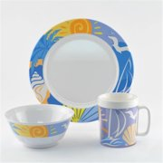 Galleyware 1085-S 18 Decorated Melamine Non-skid 18 Piece Dinnerware Gift Set