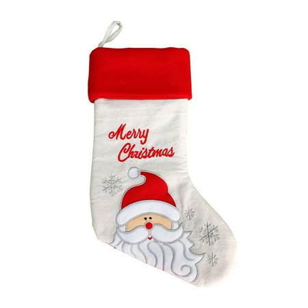 Classic Christmas Stocking Hanging Stocking, Embroidered with Santa Claus Santa Claus Christmas Stocking
