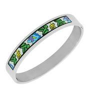 EDFORCE Stainless Steel Multicolor Oval-Shaped Silver-Tone Bangle Bracelet