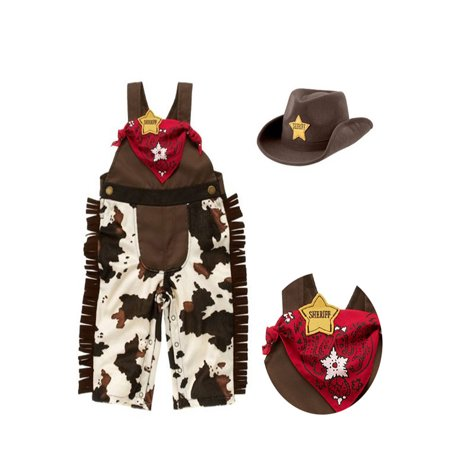 Infant Cowboy Hat (Bilo Baby Boy Sheriff Cowboy Overalls, Hat and Handkerchief 3-pc (6-12)