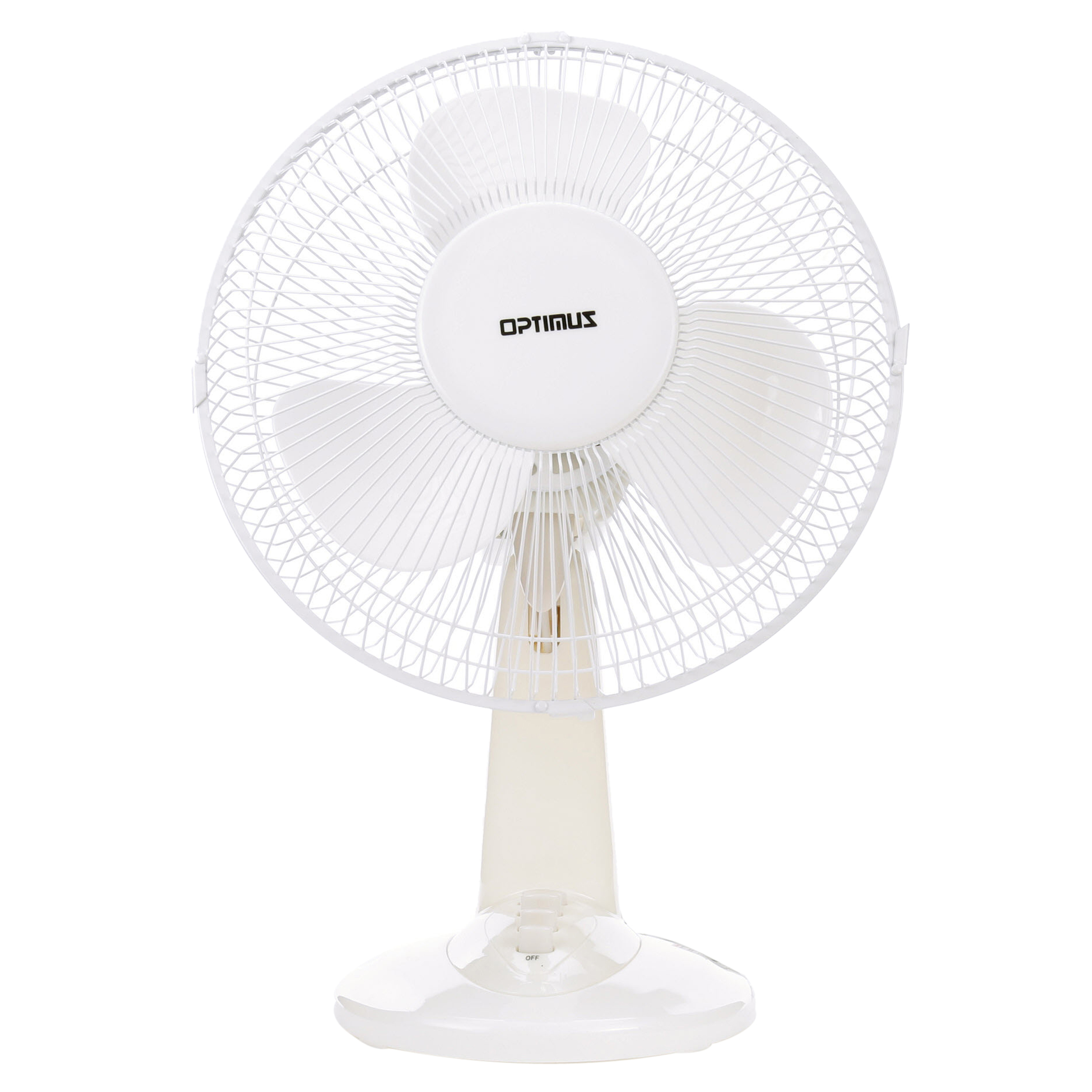"""Optimus 12"""" Oscillating Table 3-Speed Fan, Model #F-1230A, White"""