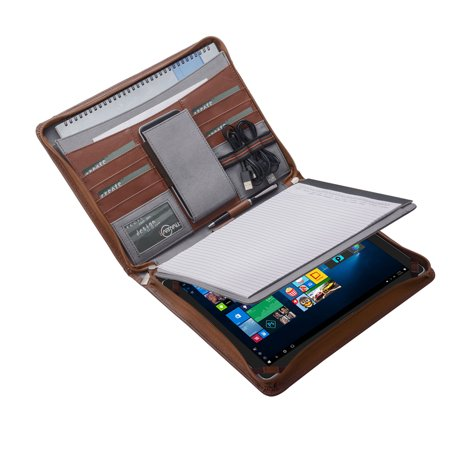 finest selection 6c016 2def3 iPad Pro Portfolio Case with Notepad Holder, Zippered Leather Portfolio  Folder Case for iPad Pro 10.5 and A4 Document