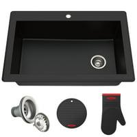 KRAUS Forteza? 33? Dual Mount Single Bowl Granite Kitchen Sink in Black