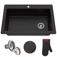 "KRAUS Forteza™ 33"" Dual Mount Single Bowl Granite Kitchen Sink in Black"