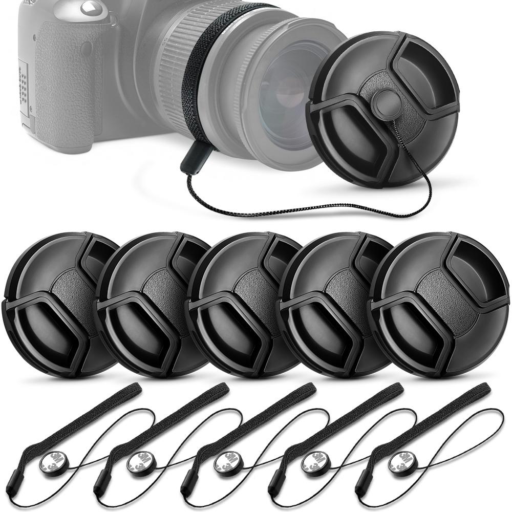 Microfiber Cleaning Cloth Unique Design Lens Cap Bundle 3 Pcs 52mm Center Pinch Lens Cap and Cap Keeper Leash for Canon Nikon Sony DSLR Camera