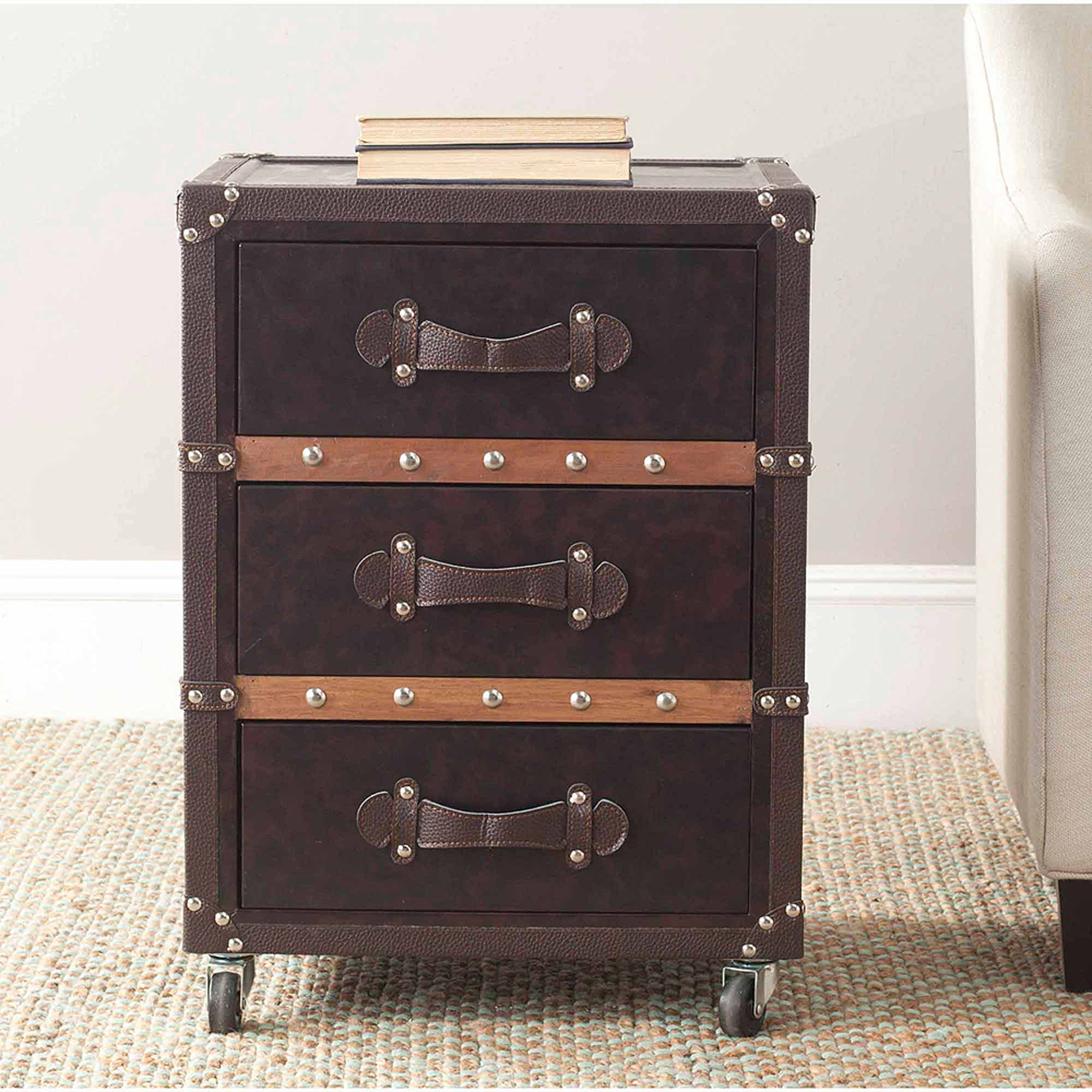 Safavieh Norman 3-Drawer Rolling Chest, Black/Brown