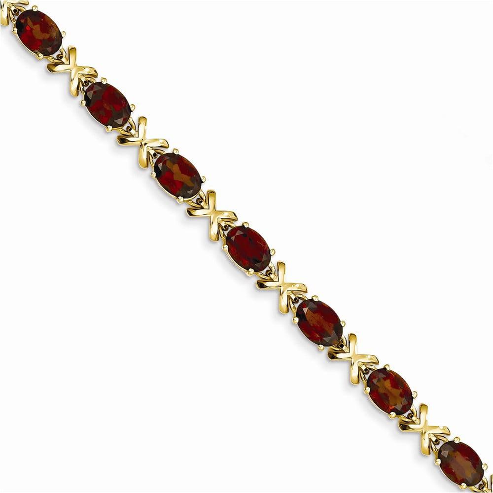 14k 7x5mm Oval Garnet bracelet by