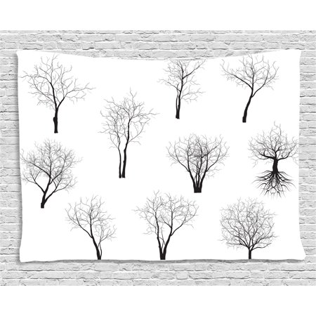 Apartment Decor Tapestry, Spooky Horror Movie Themed Branches Forest Trees Nature Art Print , Wall Hanging for Bedroom Living Room Dorm Decor, 60W X 40L Inches, Black and White, by Ambesonne