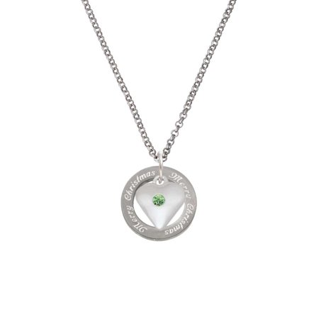 Silvertone Large August - Lime Green Crystal Heart Merry Christmas Affirmation Ring Necklace