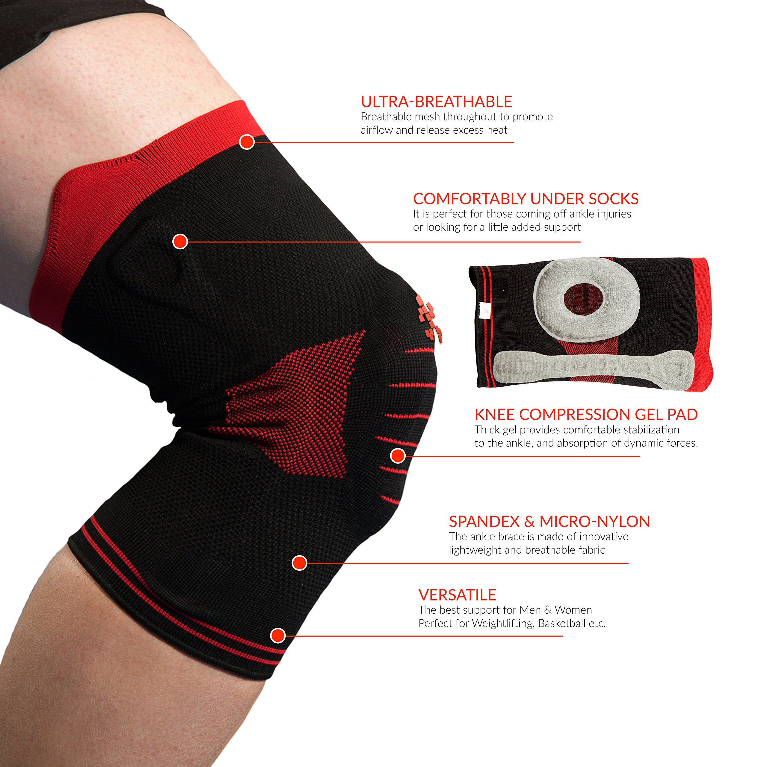 cf3bc90a52 UFlex Athletics Knee Brace Support Sleeve with Side Stabilizers and Patell..  - Walmart.com