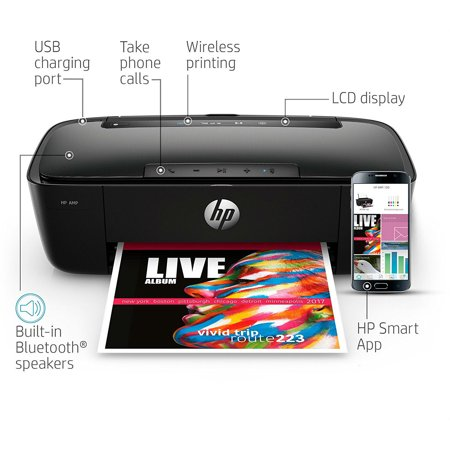 - HP AMP 100 Inkjet All-in-One Printer With Integrated Smart AMP Bluetooth Speaker & HP Mobile Printing - in Black (Renewed)