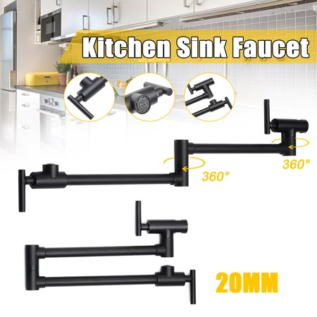 Solid Brass Double Handles Filler Kitchen Pot Faucet Wall Mount Swing Spout Tap Solid Brass Turtle Faucet