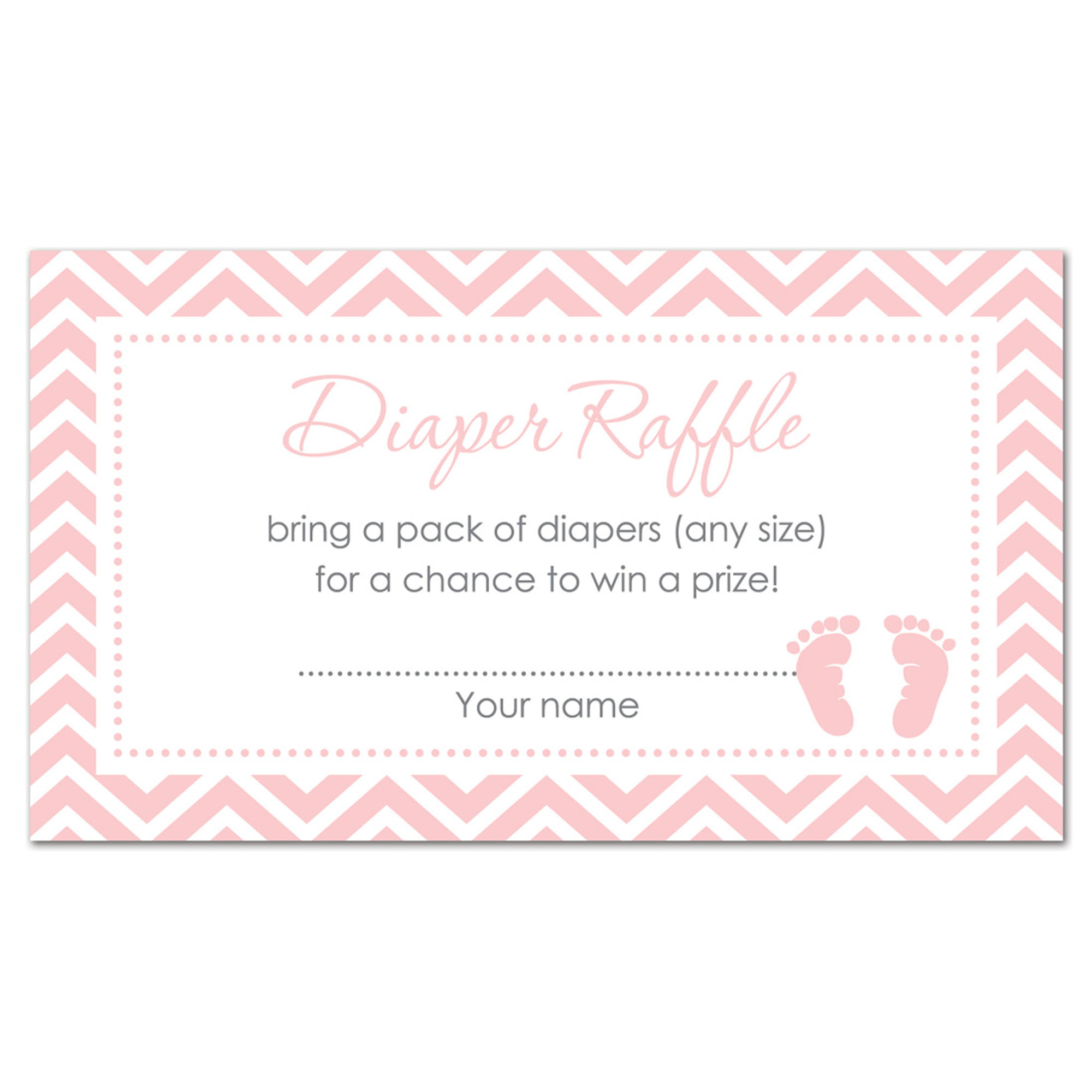 Pink Baby Feet Baby Shower Diaper Raffle Tickets - 48 count