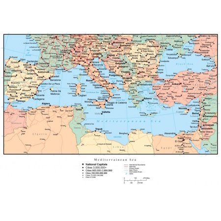 Wallmonkeys Map of the Mediterranean (europe) Peel and Stick Wall Decals  WM241482 (18 in W x 13 in H)