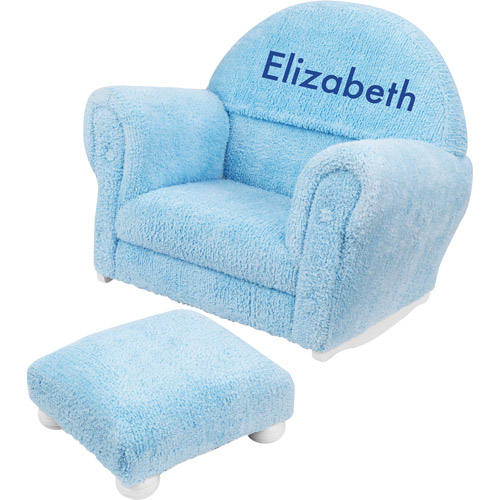 KidKraft - Personalized Powder Blue Chenille Rocker and Ottoman, Blue Block Font Girl's Name