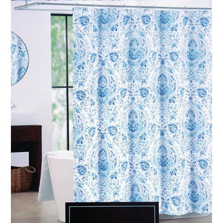 Cynthia Rowley Fabric Shower Curtain Blue Medallion Pattern With Tan Highlights On White Quincy