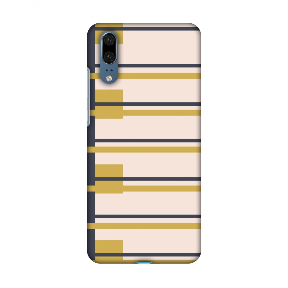 Huawei P20 Case, Premium Handcrafted Designer Hard Snap on Shell Case ShockProof Back Cover for Huawei P20 - Blocking- Beige and mustard