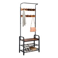 Ktaxon Industrial Coat Rack Shoe Bench, Hall Tree Entryway Storage Shelf, Wood Look Accent Furniture with Metal Frame, 3 in 1 Design