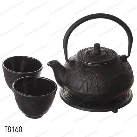 Bamboo Cast Iron Teacup (New Star International T8160 Cast Iron Bamboo Tea Set with Trivet, 21 Ounce, Black )