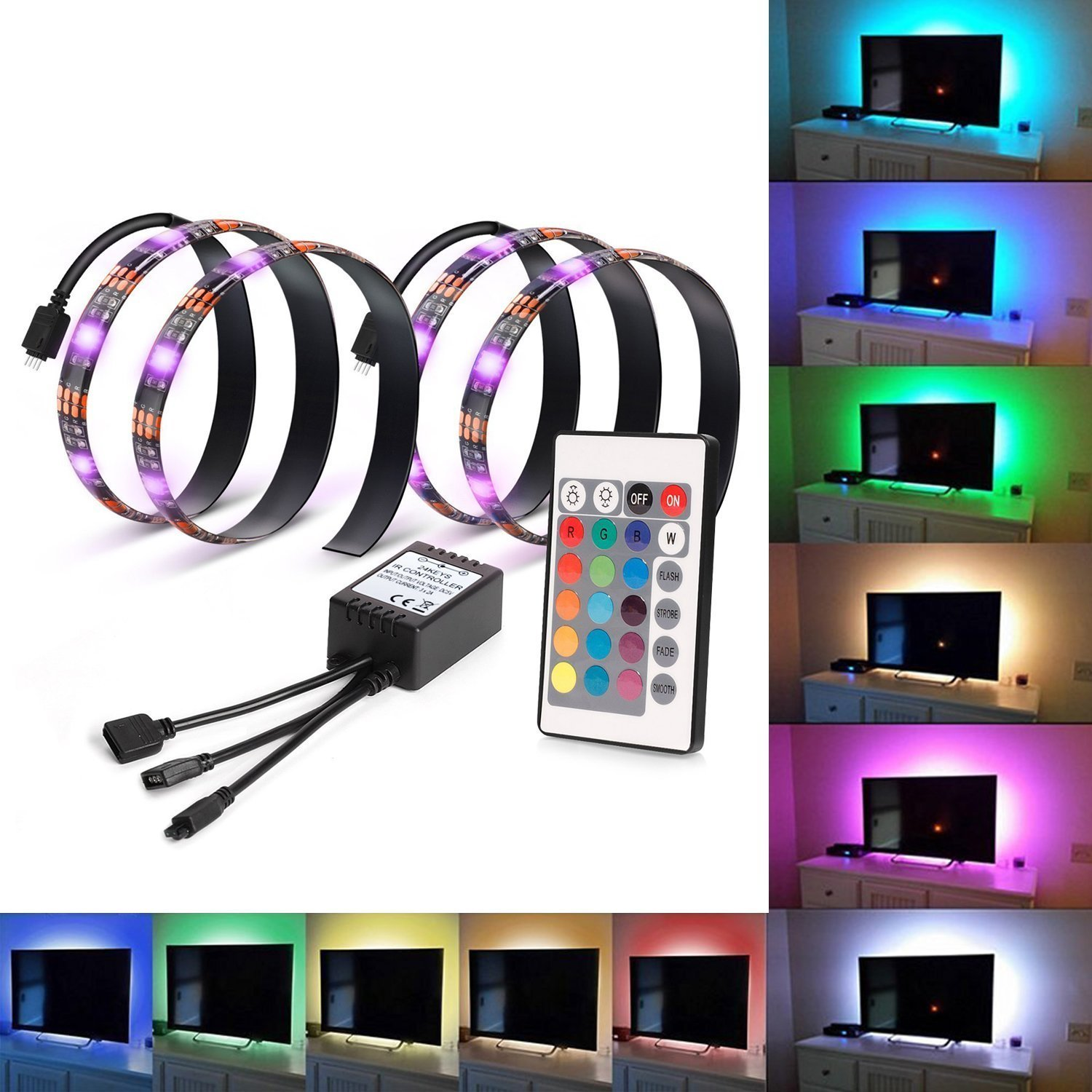 Kohree 2 RGB Multi Color Led Light Strip Bias Lighting HDTV USB Powered TV Backlighting Home Theater Accent lighting Kit