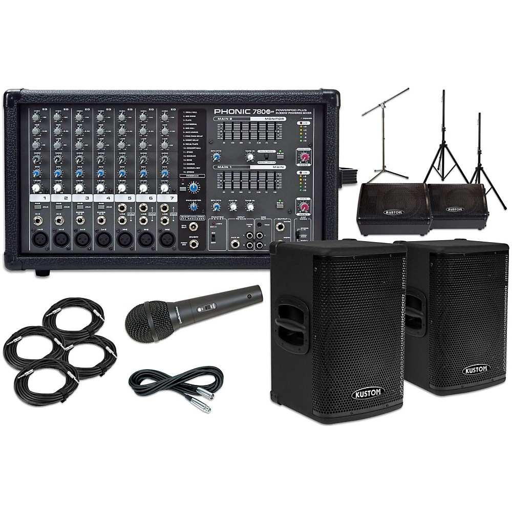 "Kustom PA KPX112 12"" with Phonic Powerpod 780 Mains and 12"" Monitors Package"