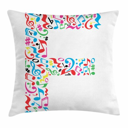 Letter F Throw Pillow Cushion Cover  Letter F Alphabet With Vibrant Music Notes Harmony Song Design Abc Graphic Print  Decorative Square Accent Pillow Case  24 X 24 Inches  Multicolor  By Ambesonne
