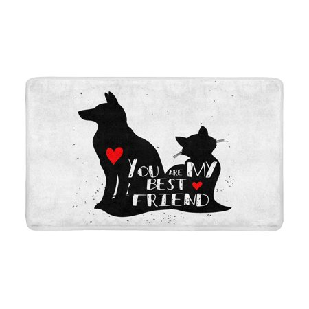 MKHERT Funny Cat and Dog Silhouette You are My Best Friend Doormat Rug Home Decor Floor Mat Bath Mat 30x18 (Best Floor Covering For Dogs)