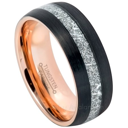 3-Tone Tungsten Carbide Ring with Meteorite Inlay, Black IP with Rose Gold IP Inner Tungsten Wedding (Avalanche Roses)