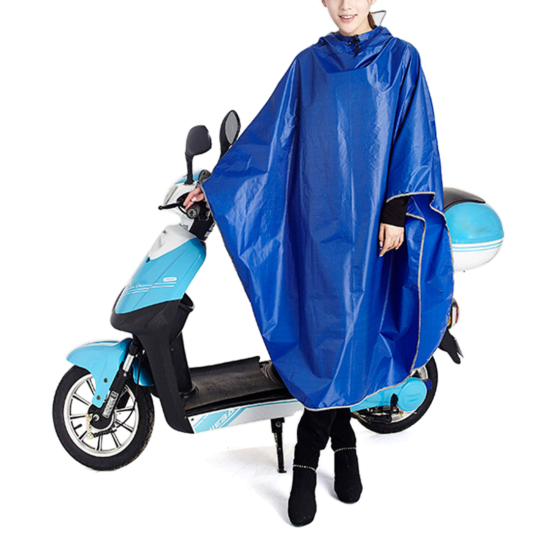 Click here to buy Blue Adult Poncho Cycling Raincoat Bicycle Hooded Waterproof Rain Coat Cover.