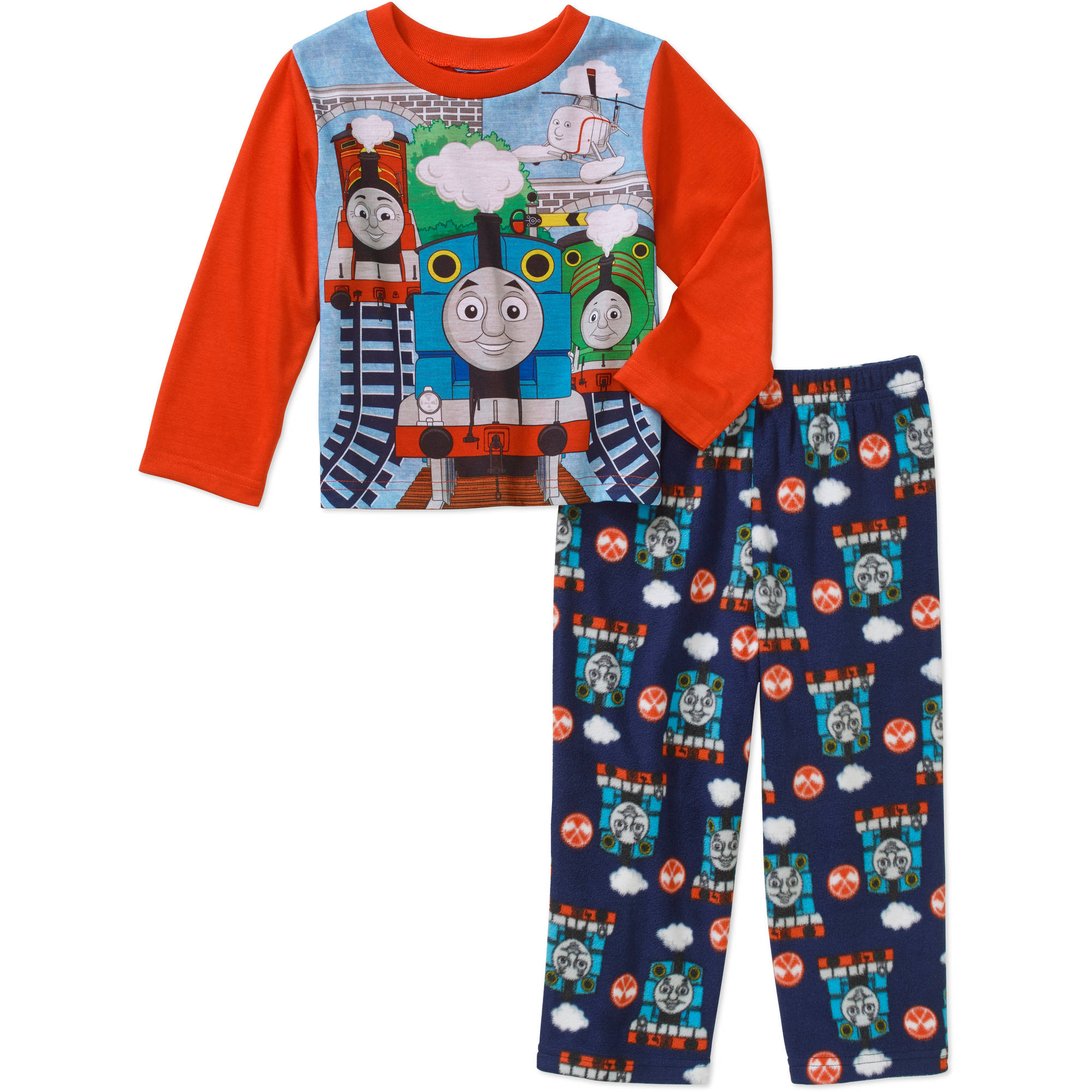 Thomas the Train Toddler Boys' Long Sleeve Top with Fleece Pants Pajama 2-Piece Set
