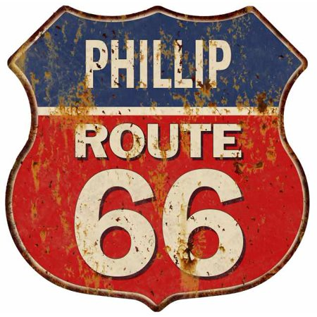 Phillip Route 66 Blue Red Shield Sign Man Cave Garage 12X12 Gift Decor S128304