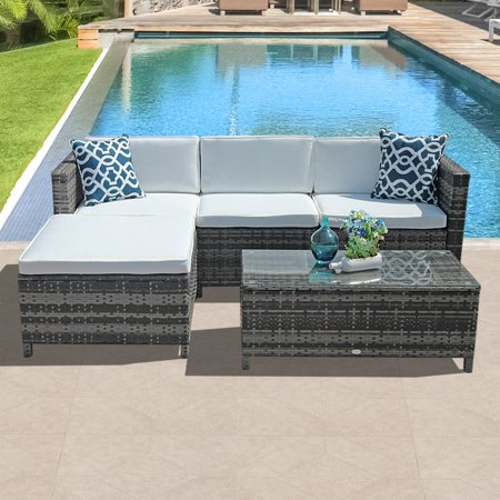 5pcs Patio Outdoor PE Wicker Rattan Sectional Furniture Set with Cream White Seat and Back Cushions,Blue pillows Steel Frame, -