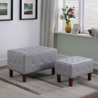 """19.5"""" in Light Gray Leatherette Allower Tifted Piping Trim Stackable Seating with Wooden Legs + 1 Seat"""